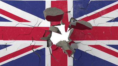 Breaking wall with painted flag of Great Britain. British crisis conceptual 3D Live Action