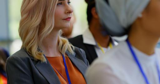 Caucasian businesswoman attending a business seminar 4k Live Action