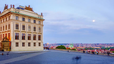 Sunset over the evening Prague. The sun goes down for the horizon and darkness Footage