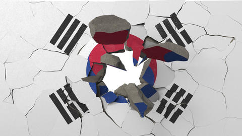 Breaking wall with painted flag of South Korea. South korea crisis conceptual 3D Live Action