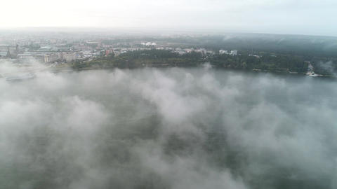 Bay with City Buildings in Foggy Weather Footage