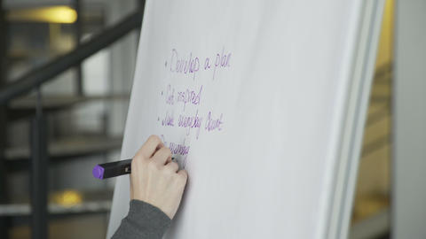 Close up of business woman hand writing business plan on flipchart Live Action