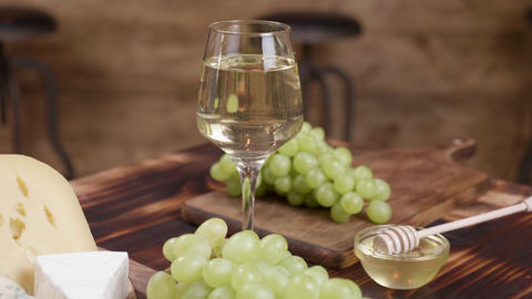 Wine and appetizer concept on a wooden background ライブ動画