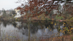 pan view from lake in berlin autumn Footage