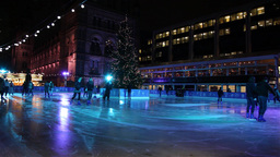 People doing ice skating in London Christmas Footage