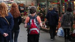 people walking in flowers market in amsterdam Footage
