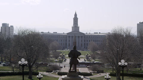 Slow motion view towards the Denver City and County Building Footage