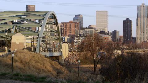 Slow motion static view near Platte River Bridge of the city Footage