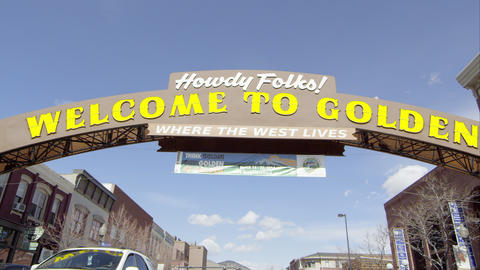 Static view of the Welcome to Golden Colorado Sign Footage