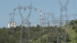 High-voltage masts from dam Footage