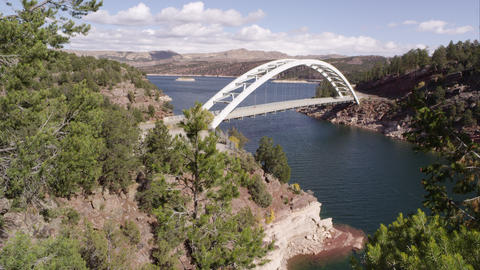 Slow pan from left to right of Cart Creek Bridge at Flaming Gorge in Utah Footage