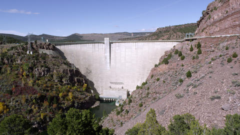 Static view of the Flaming Gorge Dam from down stream Footage
