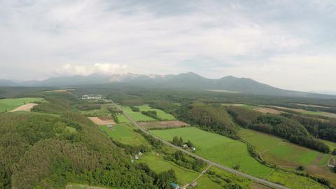 Kamifurano cho and Tokachi mountain range Footage