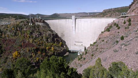 Panning view of the Flaming Gorge Dam from left to right Footage