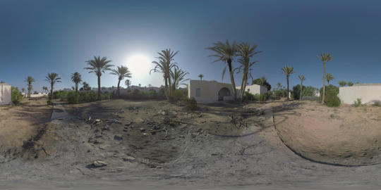 360 VR Abandoned resort with desolated guest houses Live Action