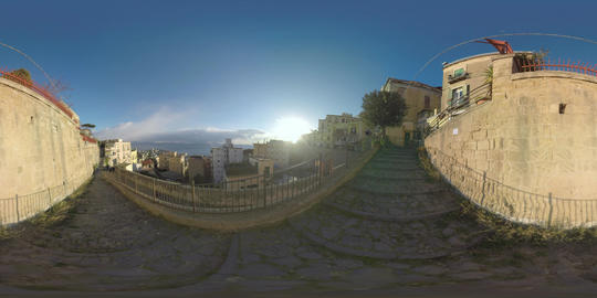 360 VR Naples cityscape with view to the sea and sunshine, Italy Footage