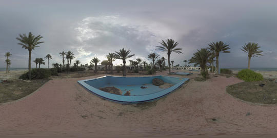 360 VR Sea and desolated resort on the shore Live Action