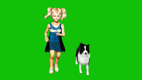 12 animation of cute small girl with her dog, on a green screen Animation