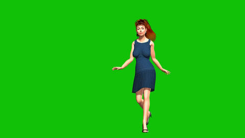 08 beautiful woman walking and smiling on a green background Animation