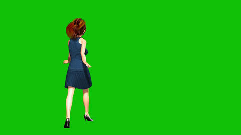 08 beautiful woman walking and smiling on a green background Stock Video Footage