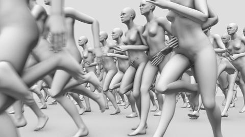 Many Nude Manikins Running Live Action