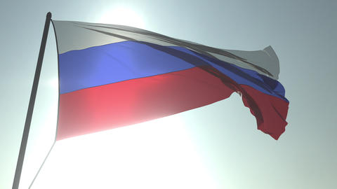 Waving flag of Russia against shining sun and sky. Realistic loopable 3D Footage