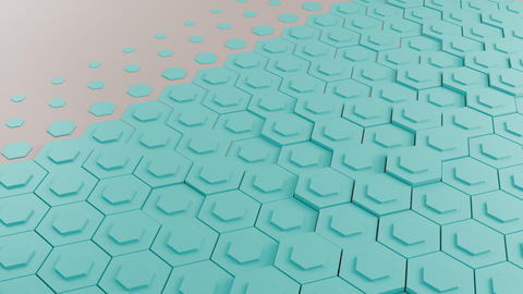 Teal hexagons background フォト