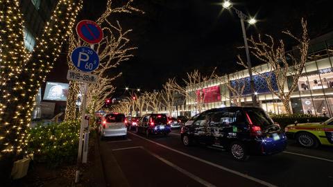 Illuminated light at the street in Omotesando Tokyo Footage