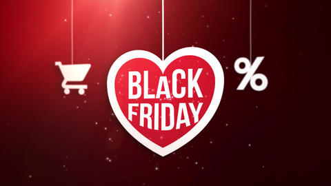 black friday heart sign hanging on string with shopping cart and percent icon Animation
