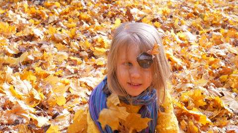Little cute girl throwing up leaves at park in autumn Footage