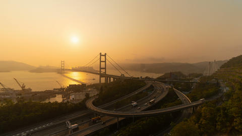 Time lapse of Tsing Ma Bridge. Highways in Hong kong with structure of suspension architecture in Footage