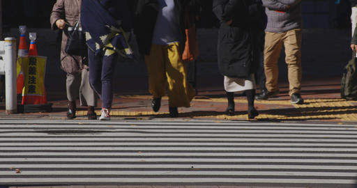 Walking people body parts at the crossing in the business town in Shinjuku Tokyo ライブ動画