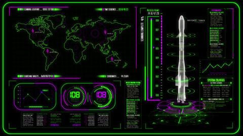 3D Green Magenta HUD Rocket Interface Motion Graphic Element Animation