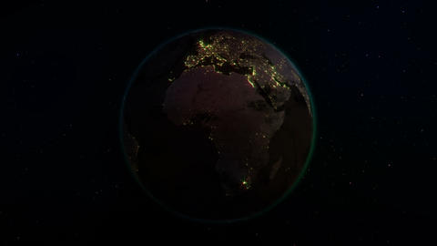 Realistic Earth rotating in space Animation