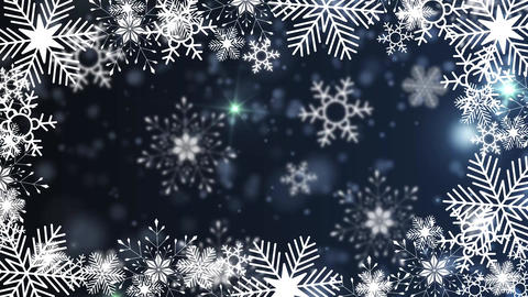 beautiful snowflakes rotating on a blue background lens flare bokeh Animation