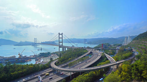 Tsing Ma Bridge. Highways in Hong kong with structure of suspension architecture in transportation Footage