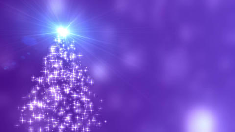 Snowflakes star lights converge into the Christmas tree with purple bokeh Animation