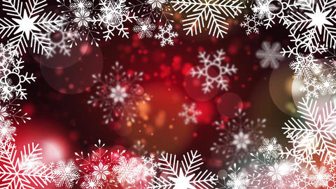 beautiful snowflakes rotating on a red background lens flare bokeh Animation