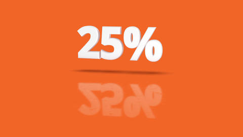 25 percent icon jumping towards camera with clean orange background Animation