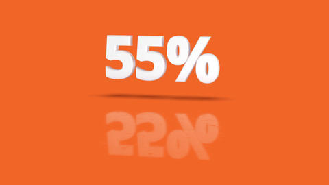 55 percent icon jumping towards camera with clean orange background Animation
