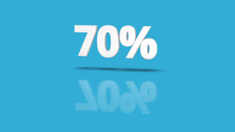 70 percent icon jumping towards camera with clean blue background Animation