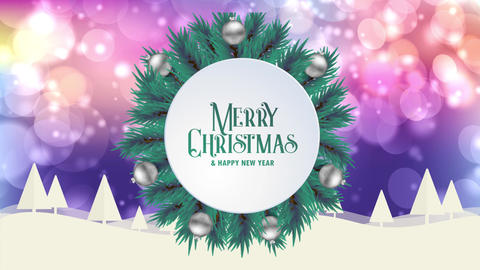 Merry Christmas greeting card animation colorful bokeh background trees snow Animation