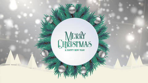 Merry Christmas greeting card animation grey bokeh background trees snow Animation