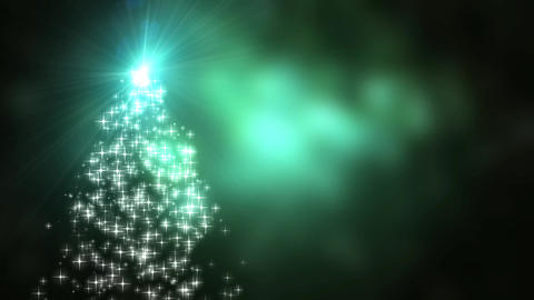 Snowflakes star lights converge into the Christmas tree with green bokeh background Animation