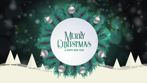 Merry Christmas greeting card animation green bokeh background trees snow Animation