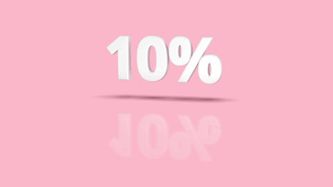 10 percent icon jumping towards camera with clean pink background Animation