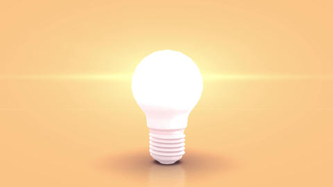 Jumping white bulb towards camera and lighting against orange pastell background Animation