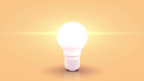 Jumping white bulb towards camera and lighting against orange pastell background Animation