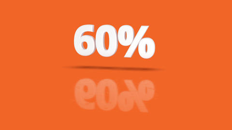 60 percent icon jumping towards camera with clean orange background Animation