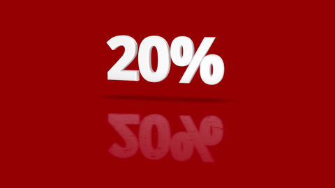 20 percent icon jumping towards camera with clean red background Animation